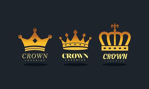 Bundel van gouden kronen koninklijk silhouet stijl iconen afbeelding ontwerp