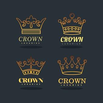 Bundel van gouden kronen koninklijke lijn stijl iconen afbeelding ontwerp