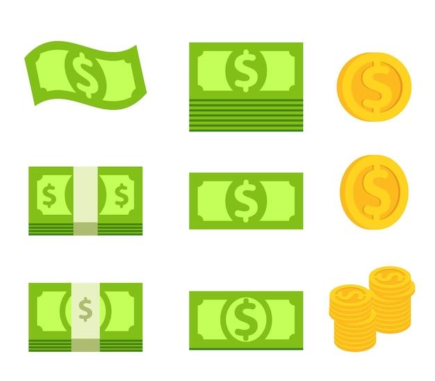 Bundel van groen bankbiljet en stapel gele geïsoleerde munt