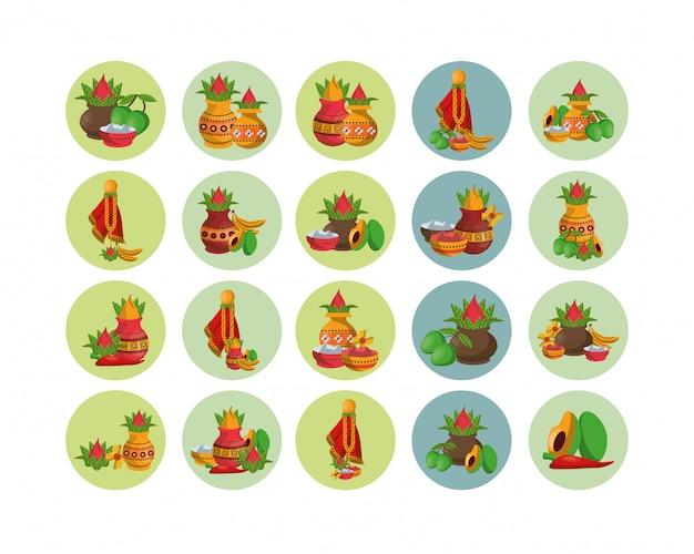 Bundel van groenten en diwali-accessoires