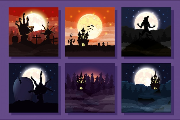 Bundel van halloween-scènes