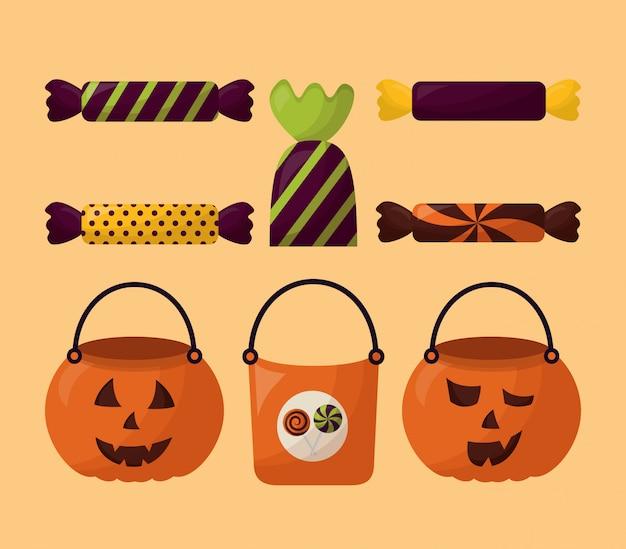 Bundel van halloween snoepjes en pompoenen set pictogrammen