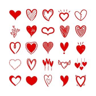 Bundel van harten liefde set pictogrammen