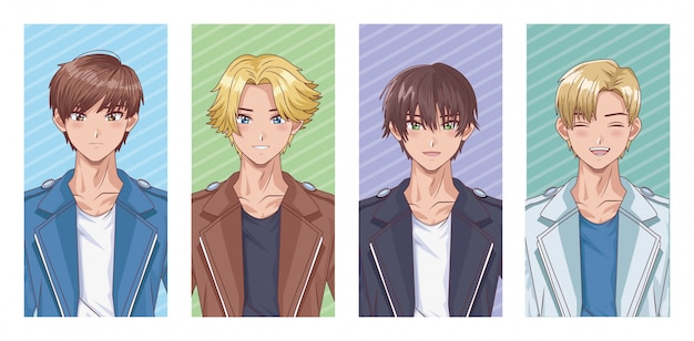 Bundel van hentai-stijlpersonages voor jonge jongens