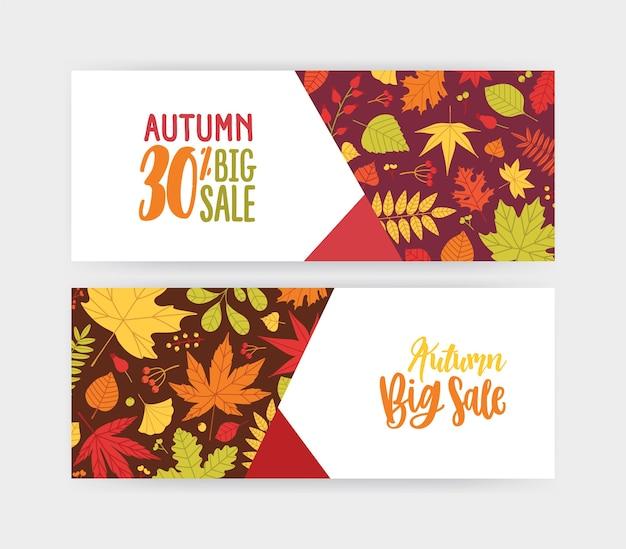 Bundel van herfstbanner, kortingsbon of couponsjablonen met omgevallen boombladeren en bessen