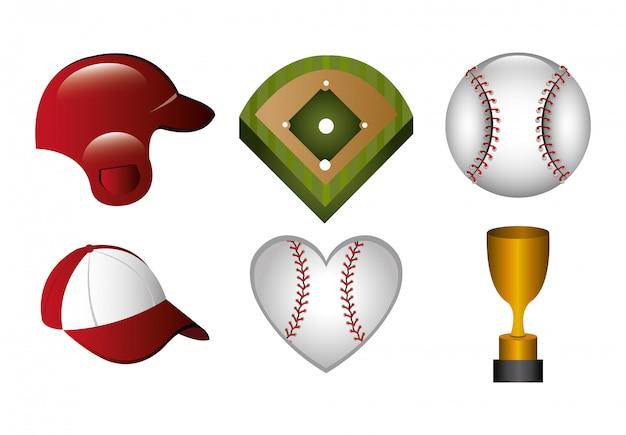 Bundel van honkbal en pictogrammen