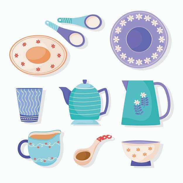 Bundel van iconen keramische gebruiksvoorwerpen