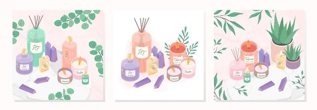 Bundel van kaarsen, deffuser, olie, aloë, parfum en amethist kristallen op een decoratief marmeren dienblad.