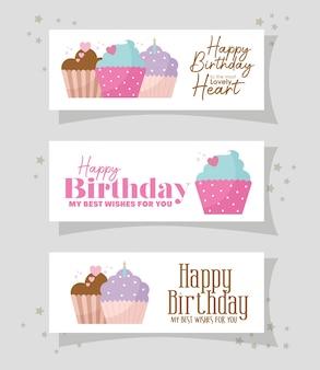 Bundel van kaart met cupcakes en gelukkige verjaardagenbeletteringen op een grijs illustratieontwerp