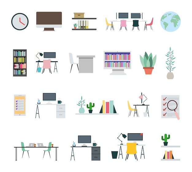 Bundel van kantoorapparatuur pictogrammen