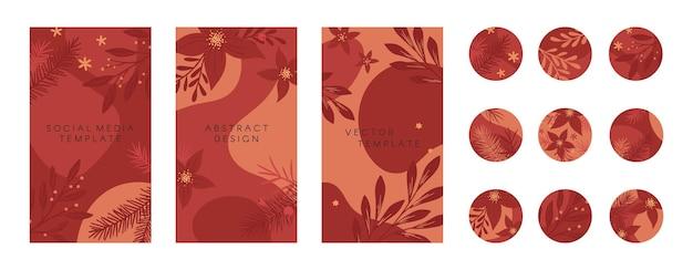 Bundel van kerstmis en gelukkig nieuwjaar insta verhaal sjablonen en hoogtepunten covers in vakantie stijl. vector lay-outs met planten en bloemen. xmas achtergronden. trendy ontwerp voor social media marketing.