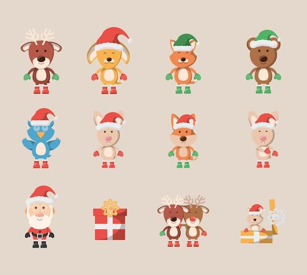 Bundel van kerstmis met pictogrammen instellen