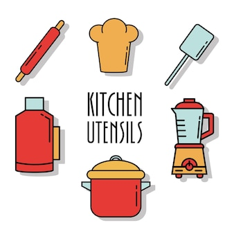 Bundel van keukengerei lijn en kleuren stijliconen en belettering