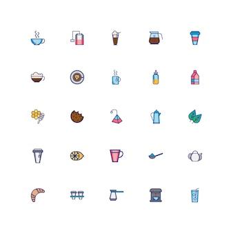 Bundel van koffie set pictogrammen