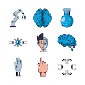 Bundel van kunstmatige intelligentie pictogrammen