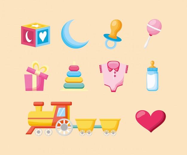 Bundel van leuk de illustratieontwerp van babytoebehoren