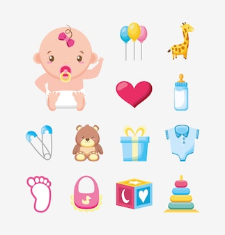 Bundel van leuk meisje en baby de illustratieontwerp van toebehoren