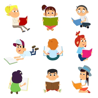 Bundel van lezen van kinderen of studeren van kinderen
