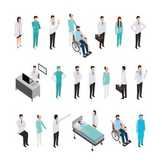 Bundel van medisch personeel en pictogrammen