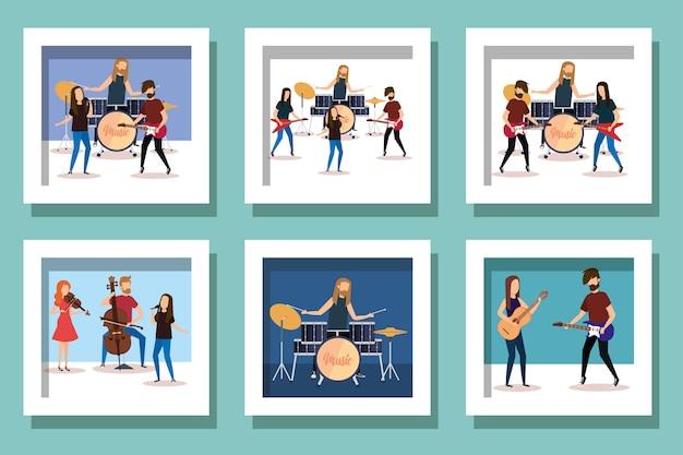 Bundel van mensen met muzikale instrumenten