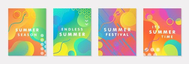 Bundel van moderne vector zomer posters met heldere achtergrond met kleurovergang, vormen en geometrische elementen. trendy abstract ontwerp perfect voor prints, sociale media, banners, uitnodigingen, branding design, covers