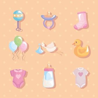 Bundel van negen babydouche decorontwerp iconen vector illustratie