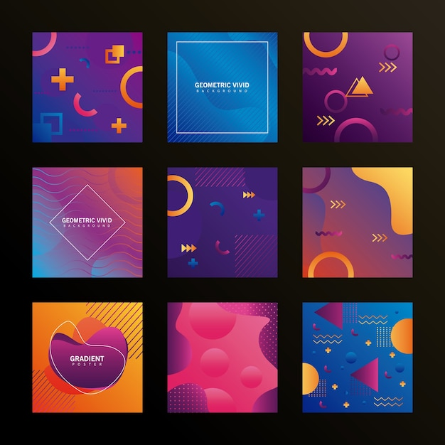 Bundel van negen geometrische levendige achtergronden