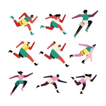 Bundel van negen lopers atleten karakters illustratie