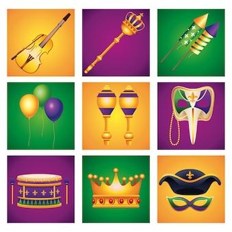 Bundel van negen mardi gras carnaval viering set pictogrammen illustratie