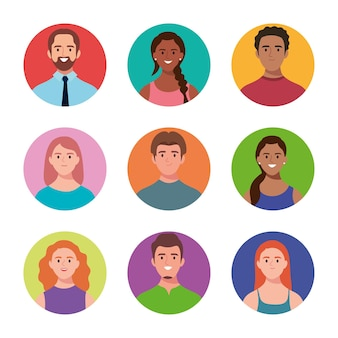 Bundel van negen personage-avatars