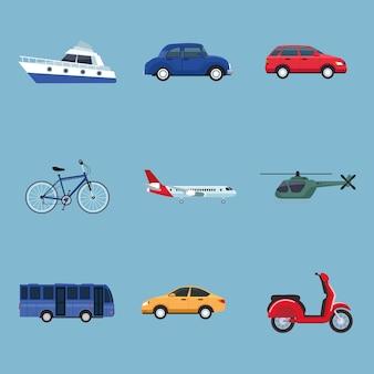 Bundel van negen transportvoertuigen