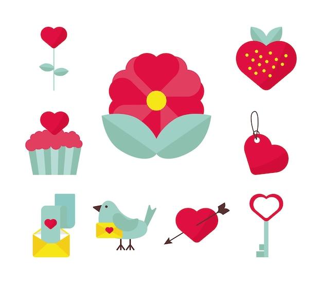 Bundel van negen valentijnsdag iconen
