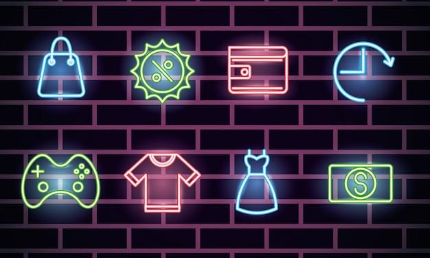 Bundel van neonlichtenpictogrammen