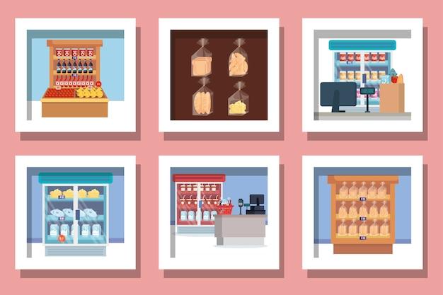 Bundel van ontwerpen supermarktproducten