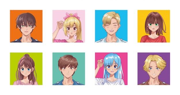 Bundel van personages in hentai-stijl