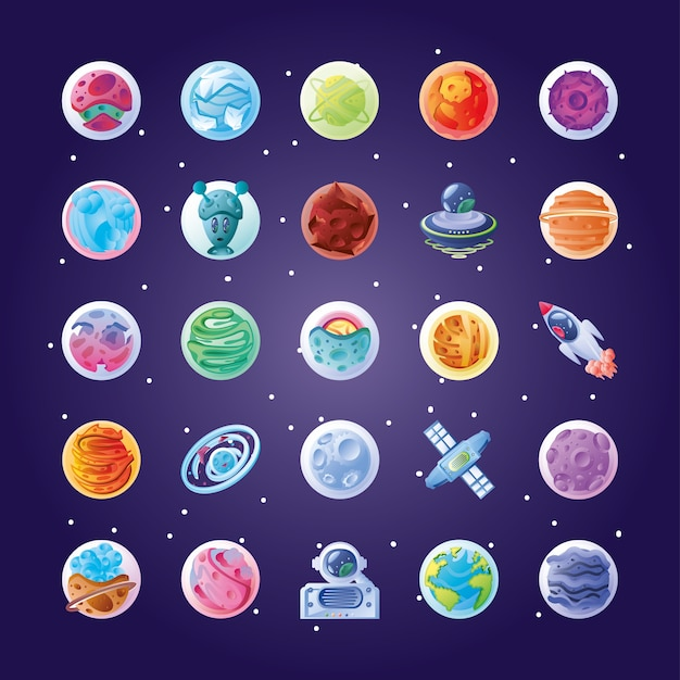 Bundel van pictogrammen met planeten of asteroïden van het illustratieontwerp van het zonnestelsel