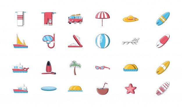 Bundel van pictogrammen zomervakanties op het strand
