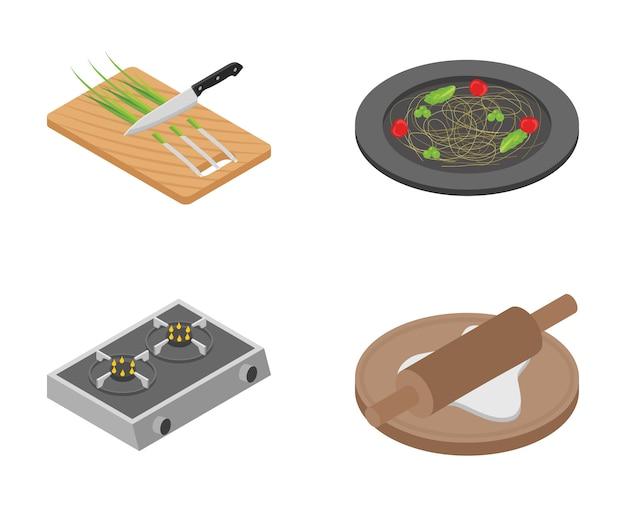 Bundel van platte koken pictogrammen