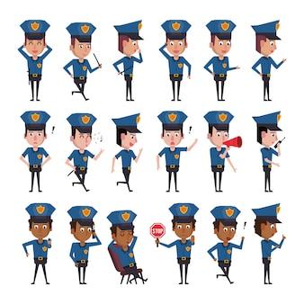 Bundel van politieagenten karakters