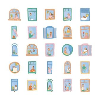 Bundel van quarantaineactiviteiten in vensters van scènes van appartementen