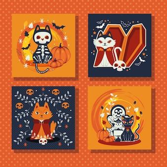 Bundel van scènes met kat vermomde personages