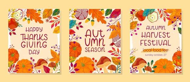 Bundel van seizoensgebonden herfst vectorillustraties voor thanksgiving day en oogstfeest met pompoenen, champignons, granaatappels, appels, planten, bladeren, bessen en bloemenelementen. trendy herfstontwerpen.