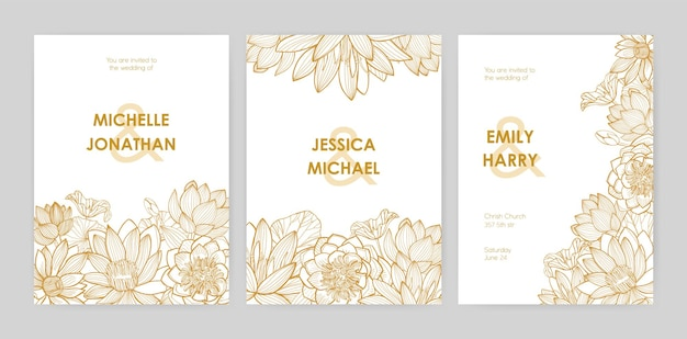 Bundel van sjablonen voor huwelijksuitnodigingen versierd met prachtige bloeiende lotusbloemen