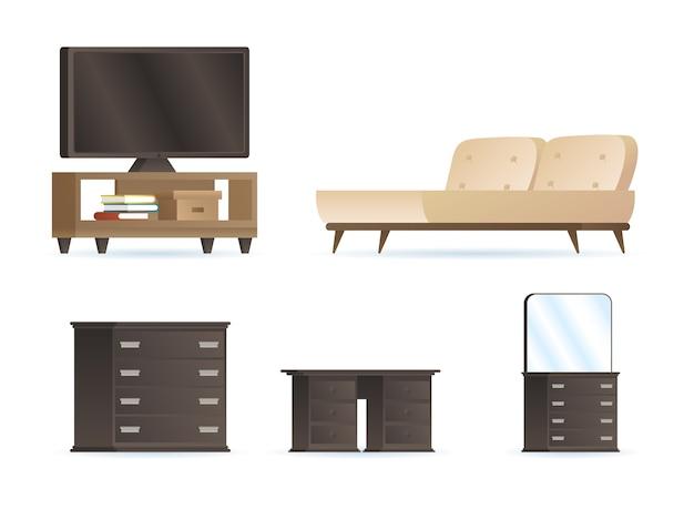 Bundel van slaapkamer forniture huis decorontwerp pictogrammen afbeelding Premium Vector