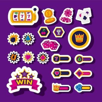 Bundel van slots casino decorontwerp iconen vector illustratie