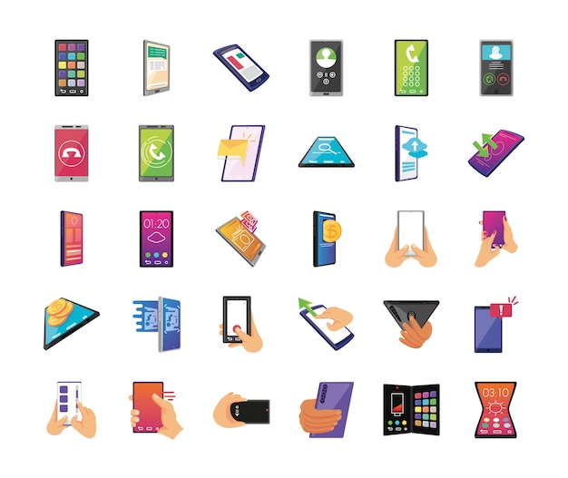 Bundel van smartphoneschermen op witte achtergrond