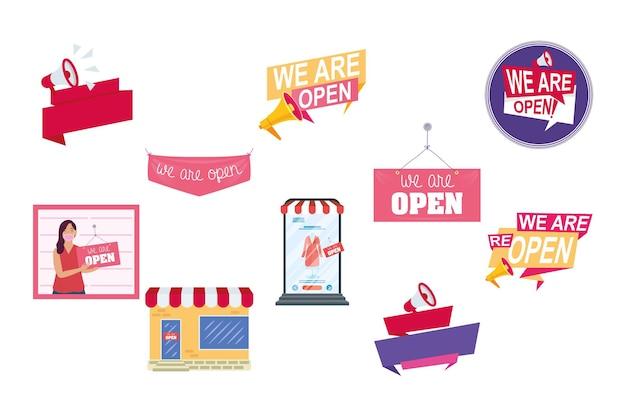 Bundel van tien heropening labels campagne set pictogrammen illustratie