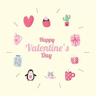 Bundel van tien valentijnsdag set pictogrammen en belettering