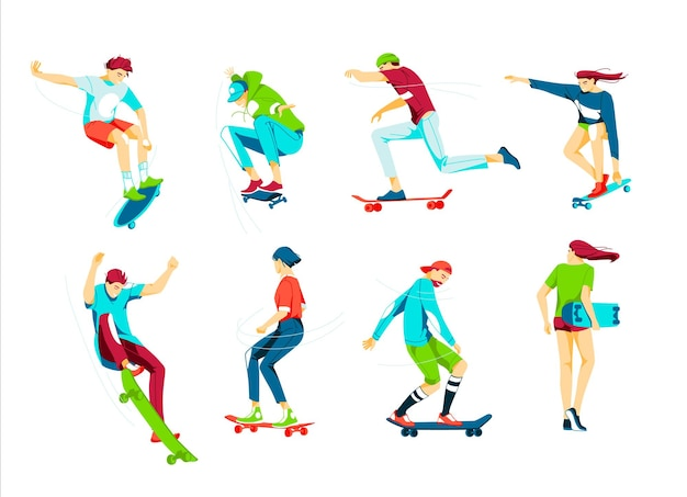 Bundel van tienerjongens en meisjes of skateboarders die skateboard rijden.