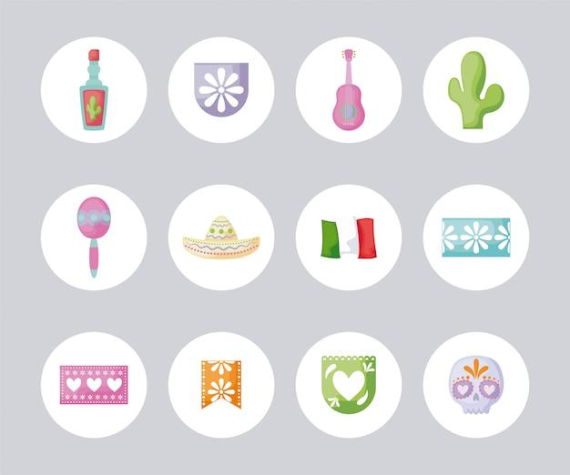 Bundel van traditionele pictogrammen van mexico